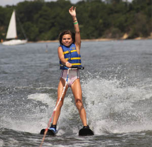 waterskiing camp participant